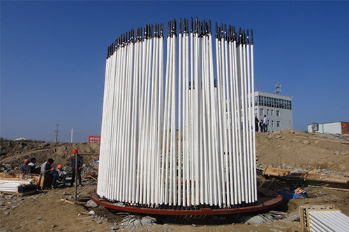 a picture of anchoring bolts for wind tower foundation