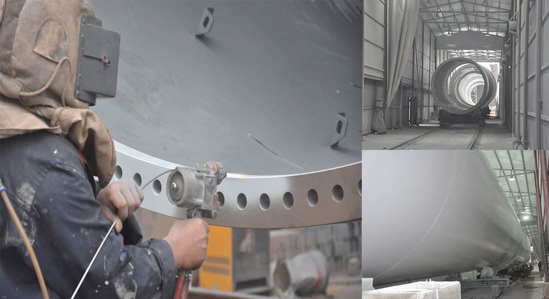a picture of wind turbine tower section coating process