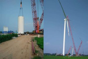 wind turbine tower assembled