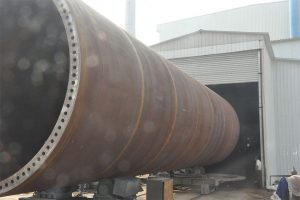 wind turbine tower before sand blasting treatment