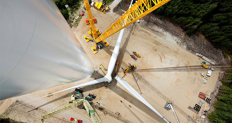 aerial view of the highest wind turbine tower