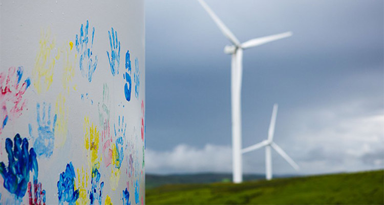 wind turbine tower with children fingerprint