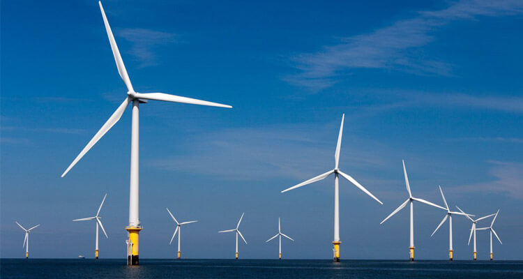 a picture of offshore wind farm on site