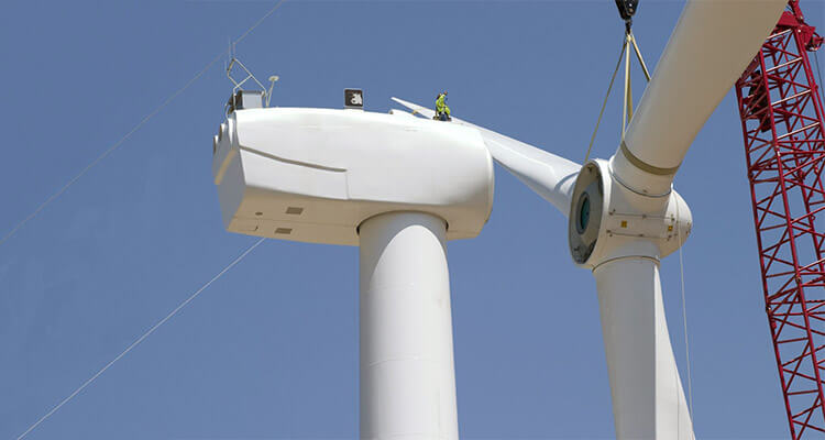 a picture of wind turbine and blades