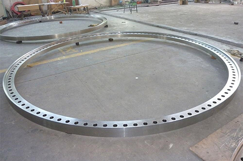 wind turbine tower flanges in factory