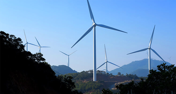 high wind tower installed in mountain area