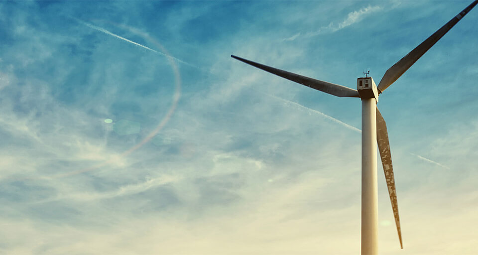 wind turbine tower in sunlight