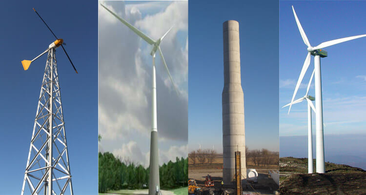 four different types of wind turbine towers