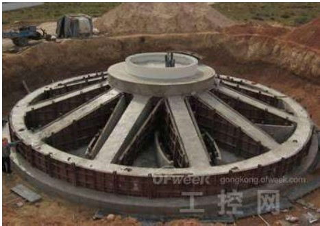 ribbed beam wind turbine tower foundation