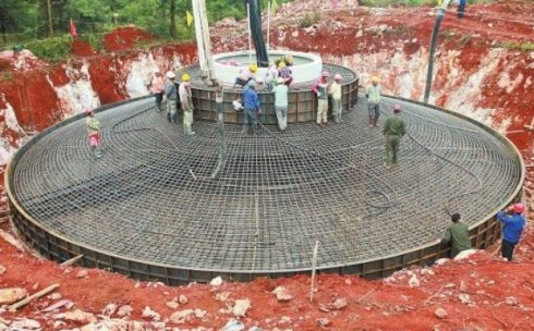 shallow mat type wind turbine tower foundation