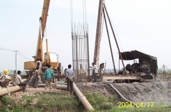 The underneath piled type wind tower foundation construction