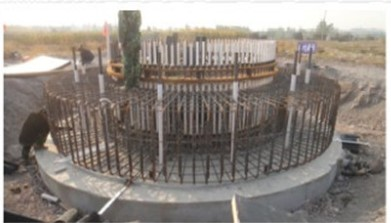 the uplift anchor type wind turbine tower foundation on site